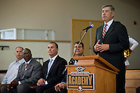 EAST PALO ALTO, CA - JUNE 6: Athletic Director Bob Bowlsby addresses students as Stanford announces a Summer partnership with the San Francisco 49ers Academy benefitting underprivileged youth in East Palo Alto.