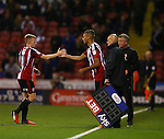 Reece Brown of Sheffield Utd  makes his debut in place of Mark Duffy of Sheffield Utd during the League One match at Bramall Lane Stadium, Sheffield. Picture date: September 27th, 2016. Pic Simon Bellis/Sportimage