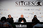 "Director of the festival, Angel Sala, hongkonger director Dante Lam and the producer Candy Leung during the press conference of the presentation of the film ""Operation Mekong"" at Festival de Cine Fantastico de Sitges in Barcelona. October 10, Spain. 2016. (ALTERPHOTOS/BorjaB.Hojas)"