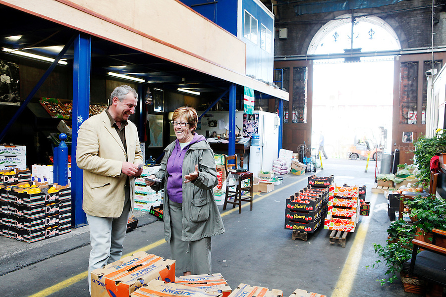 26/8/2011. Dublin Fruit and Vegetable Market.  Derek Leonard 5th generation seller from Leonard Potatoes is pictured with Teresa Lynch Moore st Trader at the Dublin Fruit and Vegetable Market. for over 40 years. Picture James Horan/Collins Photos