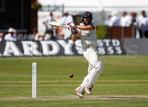 18.07.2016. Southport and Birkdale Cricket Club, Southport, England. Specsavers County Championship Cricket. Lancashire versus Durham. Lancashire all-rounder Luke Proctor pulls a ball to the boundary as he heads towards his second first class century.