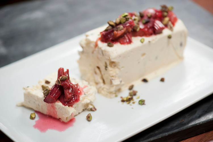 Nougat semifreddo with rhubarb, Bottega Rotolo, 7 Osmond Terrace, Norwood