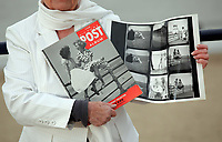 Pictured: Pat Stewart at Barry, south Wales, holding a copy of the Picture Post and a contact sheet from the photo-shoot in Blackpool by Bert Hardy dated 1951. <br /> Re: 77 year old Pat Stewart (nee Wilson) who now lives near Llantwit Major in the Vale of Glamorgan, south Wales claims she is one of the two young ladies in an iconic image taken by photographer Bert Hardy at Blackpool Promenade in July 1951, alongside fellow Tiller girl Wendy Clarke. Stewart is alleging that another woman, Norma Edmondson who has been claiming that it is her in the picture, is a fraud.<br /> PLEASE NOTE THAT THE IMAGE SHOWN OF PAT STEWART AND WENDY CLARK ON MANY ITEMS (CONTACT SHEETS, MUGS, COVERS, BOOKS, MAGAZINES ETC) WAS TAKEN BY PHOTOGRAPHER BERT HARDY AND IS CURRENTLY BEING SYNDICATED BY GETTY IMAGES WHO OWN ITS COPYRIGHT. IT IS SUPPLIED ONLY TO SUPPORT PAT STEWART'S CLAIMS