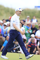 Russell Knox (SCO) sinks his monster putt to win the tournament on the playoff 18th green during Sunday's Final Round of the 2018 Dubai Duty Free Irish Open, held at Ballyliffin Golf Club, Ireland. 8th July 2018.<br /> Picture: Eoin Clarke   Golffile<br /> <br /> <br /> All photos usage must carry mandatory copyright credit (&copy; Golffile   Eoin Clarke)
