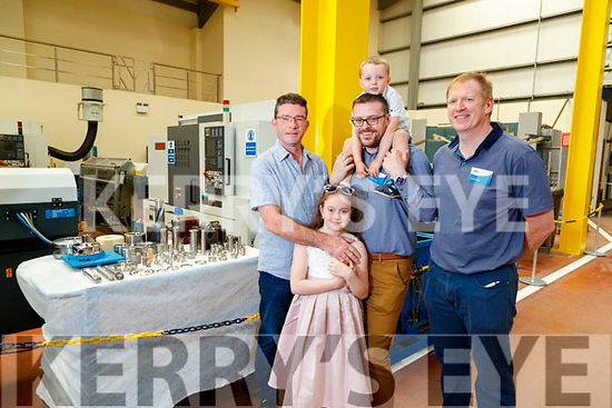 Brendan O'Sullivan, Sophie Stokes, Patrick Stokes and Luke Stokes with Pat Dowling (Dairymaster), pictured at a tour of the factory on Sunday last.