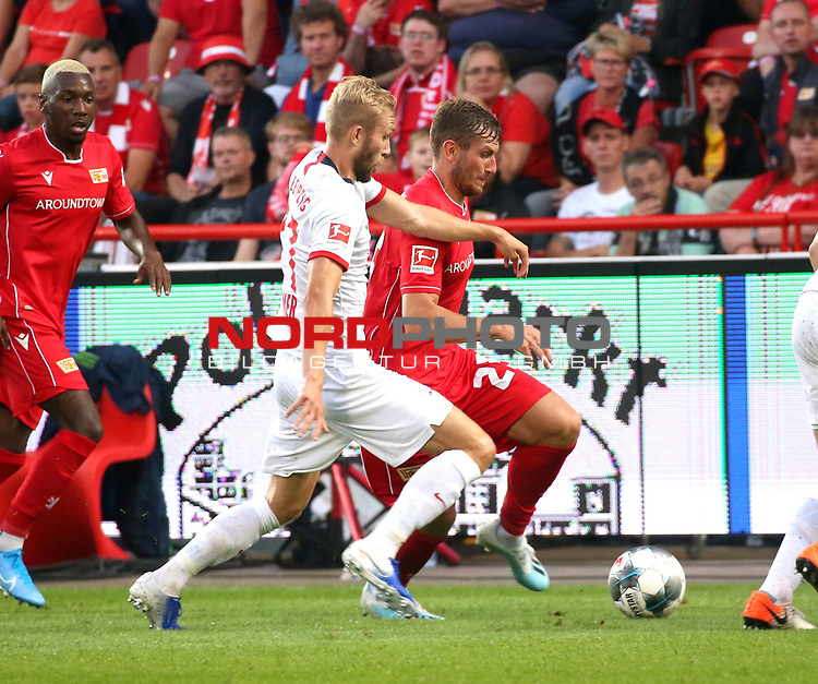 18.08.2019, Stadion an der Wuhlheide, Berlin, GER, 1.FBL, 1.FC UNION BERLIN  VS. RB Leibzig, <br /> DFL  regulations prohibit any use of photographs as image sequences and/or quasi-video<br /> im Bild Christopher Lenz (1.FC Union Berlin #25), Konrad Laimer (RB Leipzig #27)<br /> <br />      <br /> Foto © nordphoto / Engler