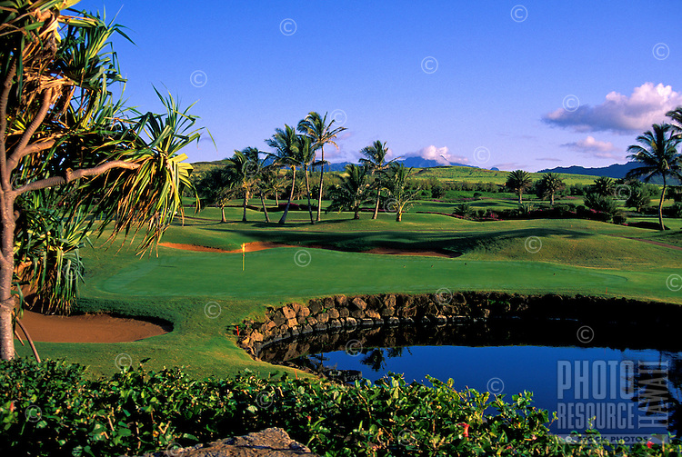 Poipu Bay golf course hole #18, island of Kauai