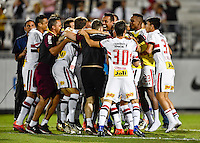 Orlando, FL - Saturday Jan. 21, 2017: São Paulo celebrate their 4-3 penalty shootout victory by surrounding their goalkeeper Sidão (12) during the Florida Cup Championship match between São Paulo and Corinthians at Bright House Networks Stadium. The game ended 0-0 in regulation with São Paulo defeating Corinthians 4-3 on penalty kicks.