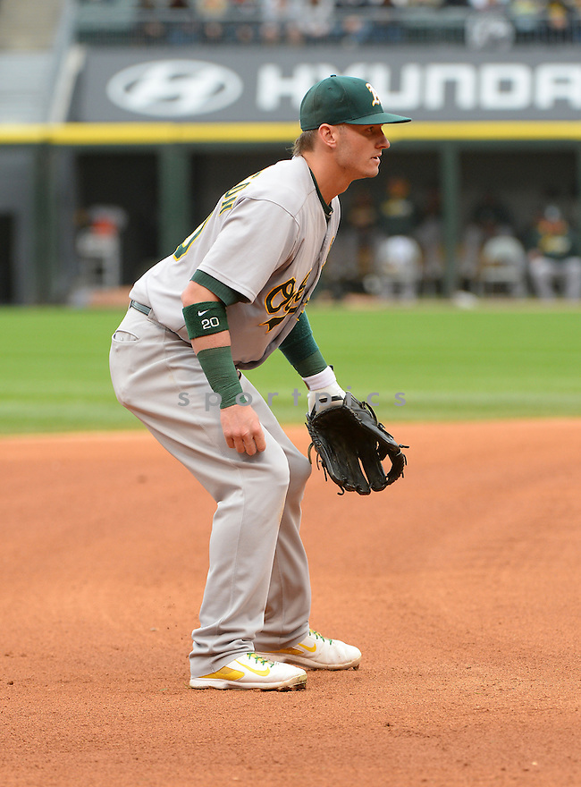 Oakland A's Josh Donaldson (20) during a game against the Chicago White Sox on September 11, 2014 at US Cellular Field in Chicago, IL. The Sox beat the A's 1-0.
