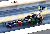 Sep 19, 2015; Concord, NC, USA; NHRA top fuel driver Clay Millican during qualifying for the Carolina Nationals at zMax Dragway. Mandatory Credit: Mark J. Rebilas-USA TODAY Sports
