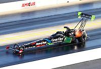 Sep 19, 2015; Concord, NC, USA; NHRA top fuel driver Clay Millican during qualifying for the Carolina Nationals at zMax Dragway. Mandatory Credit: Mark J. Rebilas-USA TODAY Sports