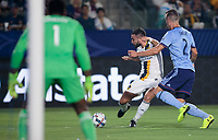 Carson, CA - Saturday August 12, 2017: Sean Johnson, Romain Alessandrini, Ben Sweat during a Major League Soccer (MLS) game between the Los Angeles Galaxy and the New York City FC at StubHub Center.