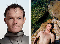 Jesper Stechmann, freediver, poses for the photographer at the A.I.D.A. Freediving World Championships, Villefranche-sur-Mer, France, 11 September 2012. At 44 years old, Jesper is one of Denmark's top freedivers and he has set a number of national records. <br />