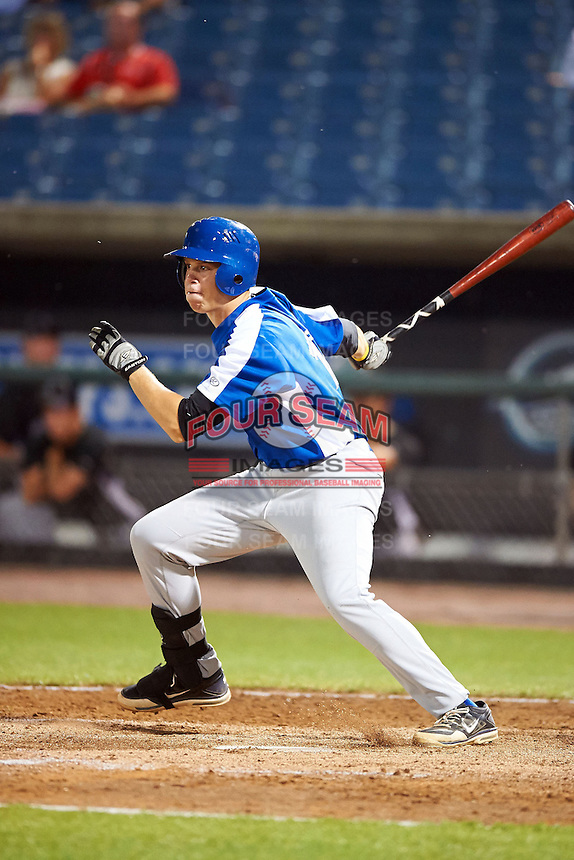 Braxton Davidson #17 of TC Roberson High School in Arden, North Carolina playing for the Toronto Blue Jays scout team during the East Coast Pro Showcase at Alliance Bank Stadium on August 2, 2012 in Syracuse, New York.  (Mike Janes/Four Seam Images)