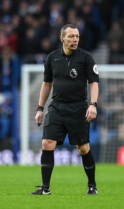 Referee Kevin Friend<br /> <br /> Photographer David Horton/CameraSport<br /> <br /> The Premier League - Brighton and Hove Albion v Liverpool - Saturday 12th January 2019 - The Amex Stadium - Brighton<br /> <br /> World Copyright © 2018 CameraSport. All rights reserved. 43 Linden Ave. Countesthorpe. Leicester. England. LE8 5PG - Tel: +44 (0) 116 277 4147 - admin@camerasport.com - www.camerasport.com