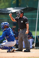 Umpire Scott Molloy strike call behind catcher Manuel Herazo (9) during a game between the GCL Blue Jays and GCL Braves on August 5, 2016 at ESPN Wide World of Sports in Orlando, Florida.  GCL Braves defeated the GCL Blue Jays 9-0.  (Mike Janes/Four Seam Images)