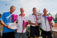 Netherlands, Amstelveen, August 23, 2015, Tennis,  National Veteran Championships, NVK, TV de Kegel,  awards ceremony, Winners men's doubles, 60+, Rolf Thung  and  Martin Koek (R) and runners up Rob Meuwese and Jan Schoemaker<br /> Photo: Tennisimages/Henk Koster