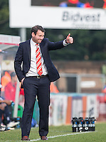Darren Sarll of Stevenage gives a thumb up during the Sky Bet League 2 match between Wycombe Wanderers and Stevenage at Adams Park, High Wycombe, England on 12 March 2016. Photo by Andy Rowland/PRiME Media Images.