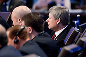 Prime Minister Stephen Harper of Canada attends the opening plenary of the Nuclear Security Summit with United States President Barack Obama at the Washington Convention Center in Washington, D.C., U.S., on Tuesday, April 13, 2010. Ukraine's agreement to relinquish its entire stockpile of highly enriched uranium gave Obama the first concrete result for a summit he convened on securing the world's atomic material. .Credit: Andrew Harrer / Pool via CNP