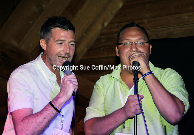 Craig and Jared sings karaoke at 15th Southwest Florida Soapfest 2014 Charity Weekend with a Bartending/Karaoke get together on May 26, 2104 at Porky's, Marco Island, Florida. (Photo by Sue Coflin/Max Photos)
