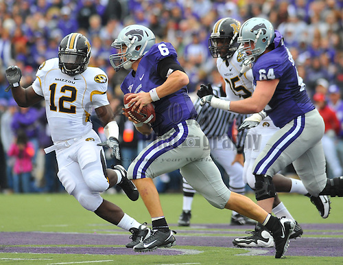 Nov 14, 2009; Manhattan, KS, USA; Kansas State quarterback Grant Gregory (6) scrambles for yardage in the first half against the Missouri Tigers at Bill Snyder Family Stadium. The Tigers won 38-12. Mandatory Credit: Denny Medley-US PRESSWIRE
