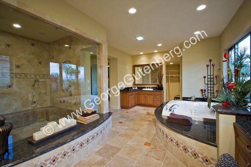 Luxurious master bath with large walk-in shower Stock photo of master bath, en suite, bathroom