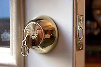 DEADBOLT LOCK<br /> Key In Lock<br /> Hardened steel bolt is retracted