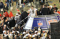 Siegerjubel Drew Brees (Saints)<br /> Super Bowl XLIV: Indianapolis Colts vs. New Orleans Saints *** Local Caption *** Foto ist honorarpflichtig! zzgl. gesetzl. MwSt. Auf Anfrage in hoeherer Qualitaet/Aufloesung. Belegexemplar an: Marc Schueler, Alte Weinstrasse 1, 61352 Bad Homburg, Tel. +49 (0) 151 11 65 49 88, www.gameday-mediaservices.de. Email: marc.schueler@gameday-mediaservices.de, Bankverbindung: Volksbank Bergstrasse, Kto.: 52137306, BLZ: 50890000