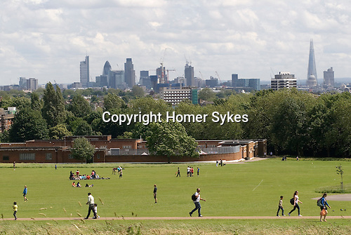 Parliament Hill Fields north London Skyline UK.