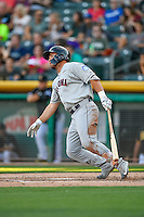 D.J. Peterson (11) of the Tacoma Rainiers at bat against the Salt Lake Bees in Pacific Coast League action at Smith's Ballpark on July 23, 2016 in Salt Lake City, Utah. The Rainiers defeated the Bees 4-1. (Stephen Smith/Four Seam Images)