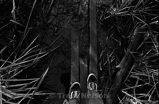 Trent feet and planks over water in canyon where we used to hike and play.<br />