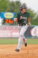 Augusta GreenJackets outfielder Andrew Cain (36) running the bases during a game against the Charleston Riverdogs at Joseph P.Riley Jr. Ballpark on April 15, 2015 in Charleston, South Carolina. Charleston defeated Augusta 8-0. (Robert Gurganus/Four Seam Images)