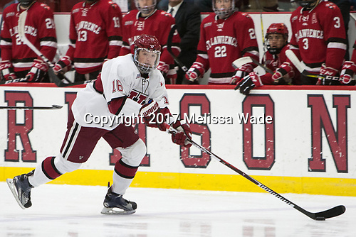 Ryan Donato (Harvard - 16) - The Harvard University Crimson defeated the St. Lawrence University Saints 6-3 (EN) to clinch the ECAC playoffs first seed and a share in the regular season championship on senior night, Saturday, February 25, 2017, at Bright-Landry Hockey Center in Boston, Massachusetts.