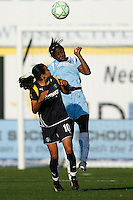 Anita Asante (5) of Sky Blue FC and Marta Vieira da Silva (10) of the Los Angeles Sol go up for a header. The Los Angeles Sol defeated Sky Blue FC 2-0 during a Women's Professional Soccer match at TD Bank Ballpark in Bridgewater, NJ, on April 5, 2009. Photo by Howard C. Smith/isiphotos.com