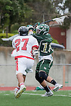 Palos Verdes, CA 04/20/10 - Tom Farrell (Mira Costa #18) and Cole Bender (Palos Verdes #27) in action during the Mira Costa-Palos Verdes boys lacrosse game.
