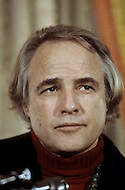 1974, Plaza Hotel, New York. Marlon Brando during a press conference about the indian cause.