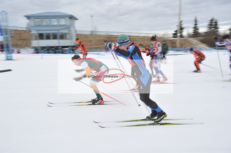 Chugiak's Brian Wing double poles away from the start of the relay event at the Region IV ski championships Saturday, Februrary 20, 2016. The Chugiak boys placed fifth in the Region. Photo for the Star by Michael Dinneen