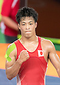Shinobu Ota (JPN), AUGUST 14, 2016 - Wrestling : Shinobu Ota of Japan celebrates after winning against Hamid Mohammad Soryan of Iran during the Rio 2016 Olympic Games Men's Greco-Roman 59kg Qualification at Olympic Training Center Hall 3 in Rio de Janeiro, Brazil. (Photo by Enrico Calderoni/AFLO SPORT)