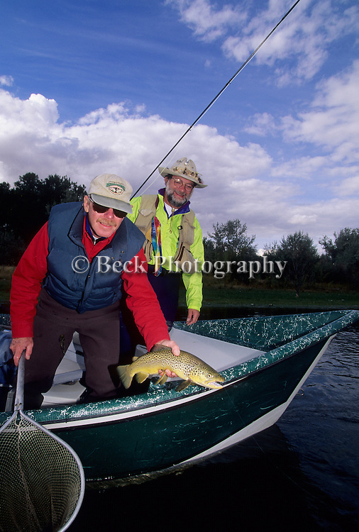 Guide and client on the Bighorn River, MT.
