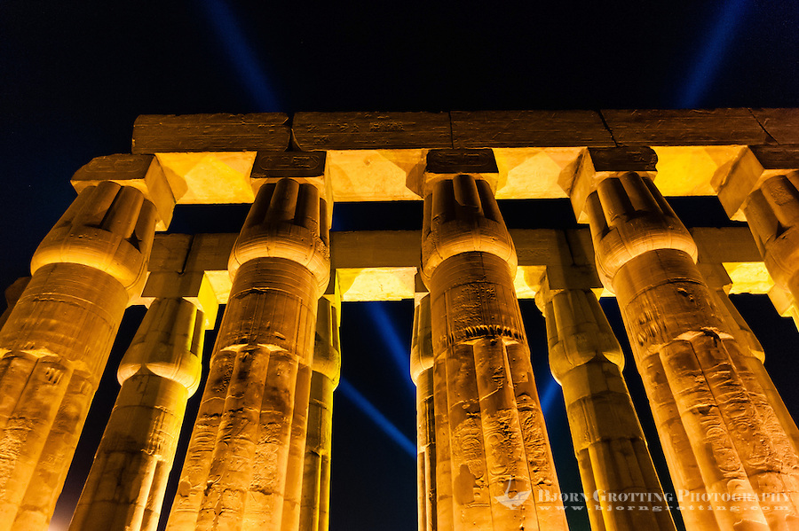 Egypt. Luxor Temple is a large temple complex founded in 1400 BC. Large columns.