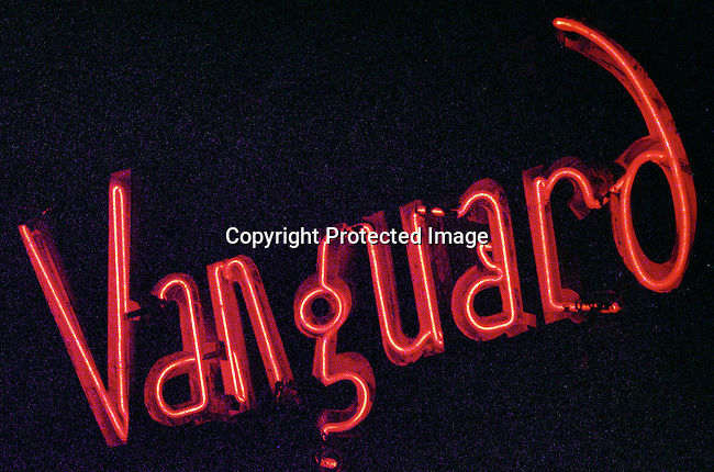 dievmus00621 Jazz. A neon sign outside the Village Vanguard jazz Club on May 24, 1998 in New York City, USA.  The Vanguard is one of the oldest and best known Jazz venues in New York City..©Per-Anders Pettersson/iAfrika Photos