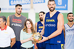 Player Marc Gasol gives a signed ball to councilor for tourism, culture and sport Andrea Levy during the training of Spanish National Team of Basketball 2019 . July 26, 2019. (ALTERPHOTOS/Francis González)