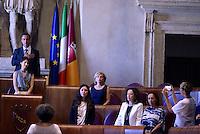 Roma, 10 Agosto 2016<br /> Il presidente dell'assemblea Marcello De Vito, La sindaca Virginia Raggi, l'assessora alla mobilit&agrave; Linda Meleo, l'assessora all'ambiente Paola Muraro, l'assessora alle politiche sociali Laura Baldassarre, e l'assessora a Roma semplice Flavia Marzano<br /> Campidoglio.<br /> Consiglio Comunale straordinario su AMA, rifiuti e le consulenze dell'assessora  all'ambiente