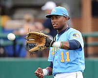 Infielder Mycal Jones (11) of the Myrtle Beach Pelicans at a game against the Potomac Nationals on Aug. 7, 2010, at BB&T Coastal Field in Myrtle Beach, S.C. Photo by: Tom Priddy/Four Seam Images