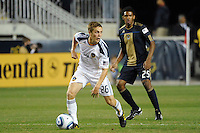 Michael Stephens (26) of the Los Angeles Galaxy. The Los Angeles Galaxy defeated the Philadelphia Union  1-0 during a Major League Soccer (MLS) match at PPL Park in Chester, PA, on October 07, 2010.