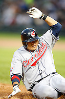 August 7, 2009:  Right Fielder Shin-Soo Choo (17) of the Cleveland Indians slides into third during a game vs. the Chicago White Sox at U.S. Cellular Field in Chicago, IL.  The Indians defeated the White Sox 6-2.  Photo By Mike Janes/Four Seam Images