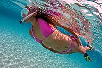 Snorkeler swims over sandy bottom, Bonaire, Netherland Antilles, Caribbean Sea, Atlantic Ocean, MR