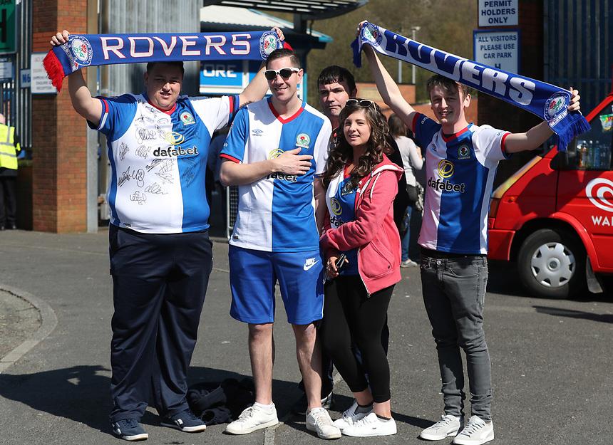 Blackburn Rovers fans before the game<br /> <br /> Photographer Rachel Holborn/CameraSport<br /> <br /> The EFL Sky Bet Championship - Blackburn Rovers v Barnsley - Saturday 8th April 2017 - Ewood Park - Blackburn<br /> <br /> World Copyright &copy; 2017 CameraSport. All rights reserved. 43 Linden Ave. Countesthorpe. Leicester. England. LE8 5PG - Tel: +44 (0) 116 277 4147 - admin@camerasport.com - www.camerasport.com