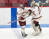 Makenna Newkirk (BC - 19), Katie Burt (BC - 33) -  The Boston College Eagles defeated the University of Vermont Catamounts 4-3 in double overtime in their Hockey East semi-final on Saturday, March 4, 2017, at Walter Brown Arena in Boston, Massachusetts.
