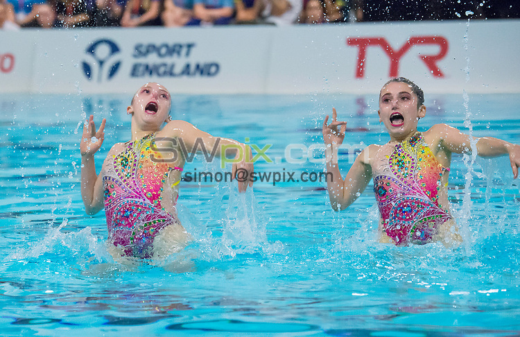 Picture by Allan McKenzie/SWpix.com - 25/11/2017 - Swimming - Swim England Synchronised Swimming National Age Group Championships 2017 - GL1 Leisure Centre, Gloucester, England - Isobel Blinkhorn & Eleanor Blinkhorn.